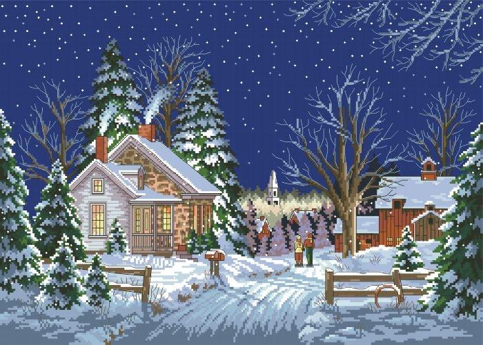 Рисунок на тему зимний вечер015