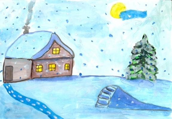 Рисунок на тему зимний вечер016