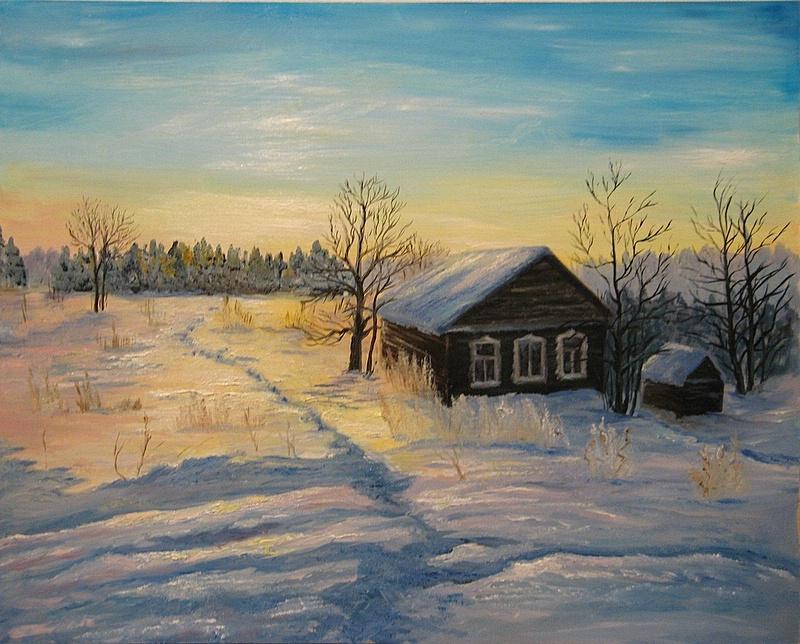 Рисунок на тему зимний вечер017