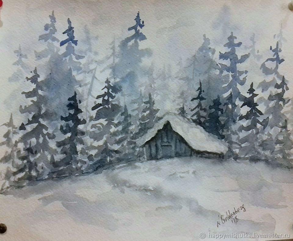 Рисунок на тему зимний вечер018