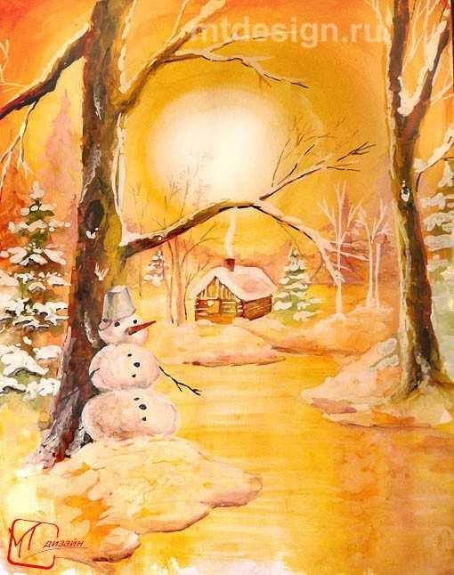Рисунок на тему зимний вечер020
