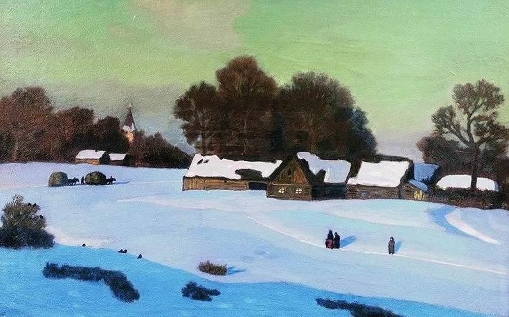 Рисунок на тему зимний вечер021