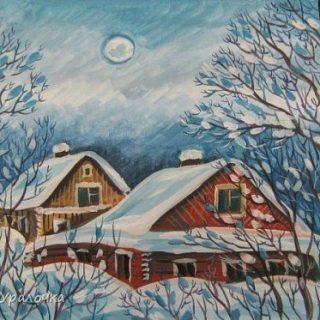 Рисунок на тему зимний вечер022