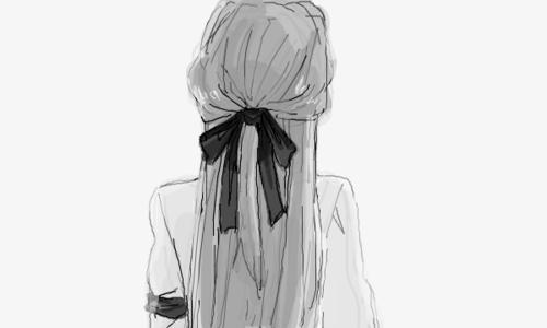 Черно-белые аниме арты девушки011