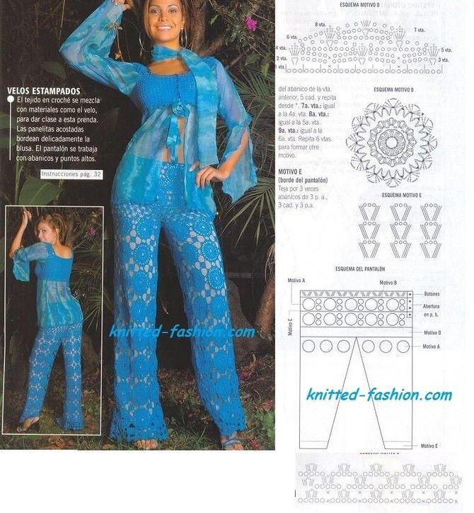 Вязание женских брюк крючком - фото (16)