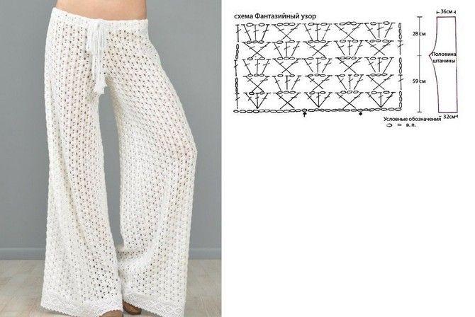 Вязание женских брюк крючком - фото (5)
