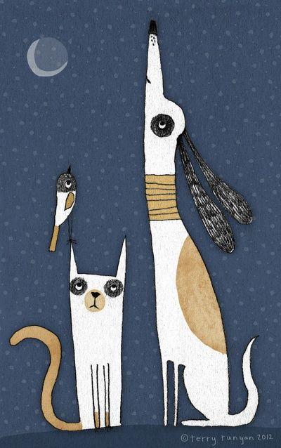 Графические рисунки кошек и собак - подборка (12)
