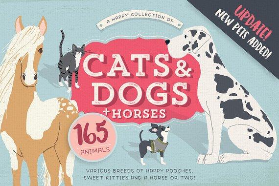 Графические рисунки кошек и собак - подборка (6)