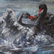 Картина маслом лебеди   красивые (15)