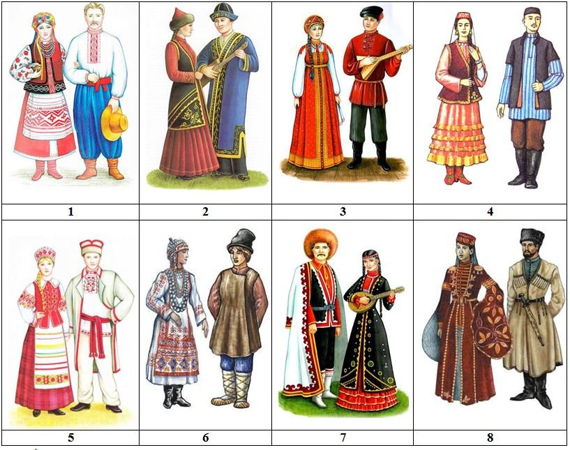 Костюмы народов россии картинки для детей дошкольного возраста