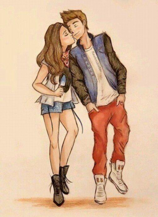 Картинки нарисованные карандашом парень и девушка обнимаются (12)