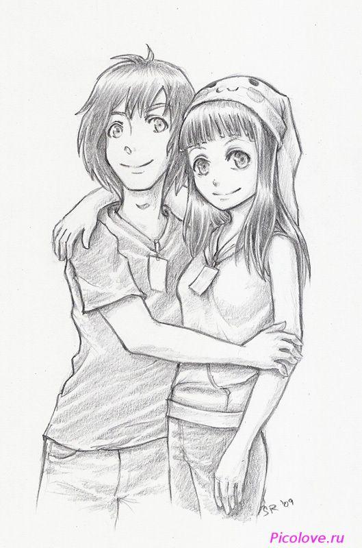 Картинки нарисованные карандашом парень и девушка обнимаются (15)