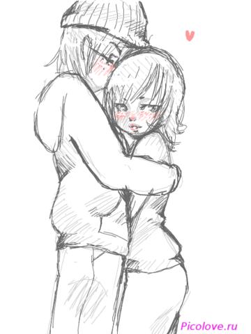 Картинки нарисованные карандашом парень и девушка обнимаются (19)