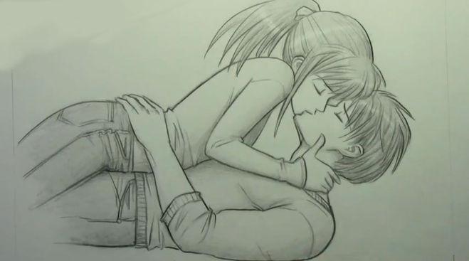 Картинки нарисованные карандашом парень и девушка обнимаются (2)