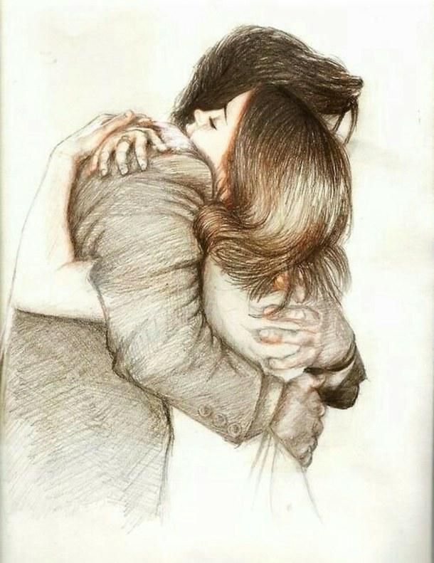 Картинки нарисованные карандашом парень и девушка обнимаются (20)