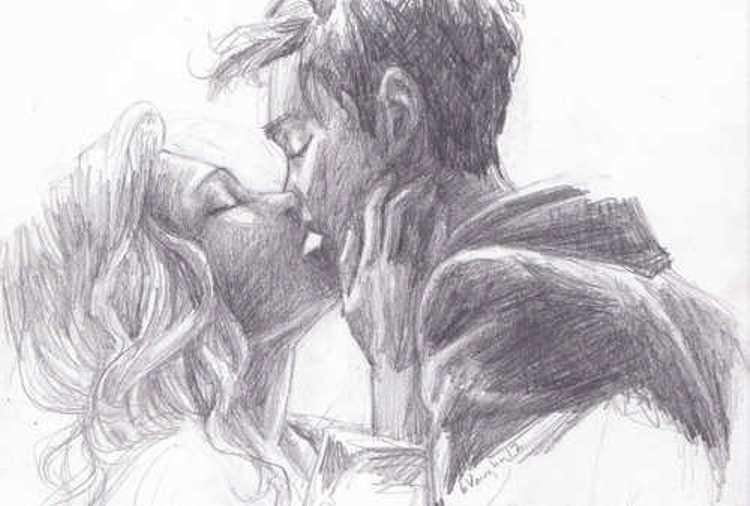 Картинки нарисованные карандашом парень и девушка обнимаются (4)