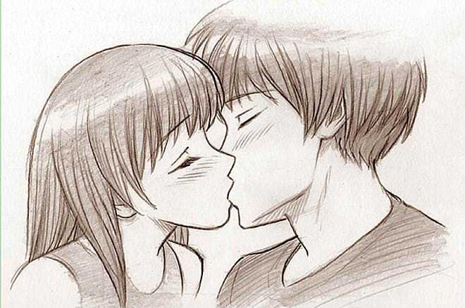 Картинки нарисованные карандашом парень и девушка обнимаются (5)