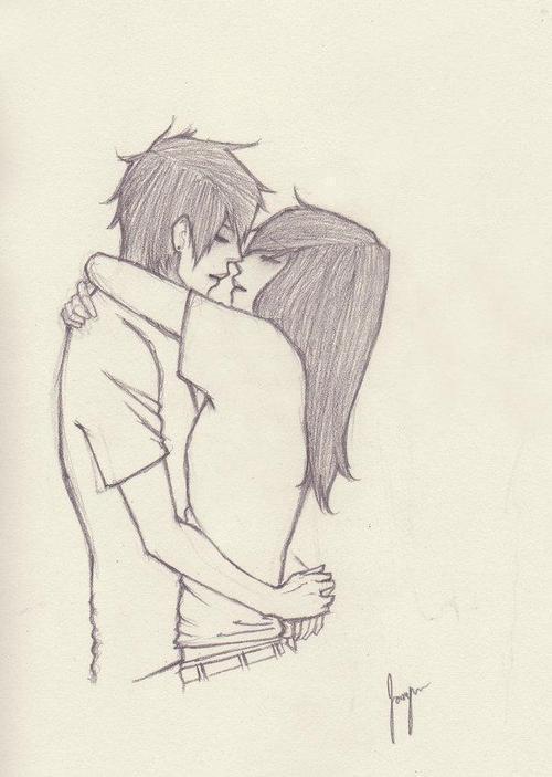 Картинки нарисованные карандашом парень и девушка обнимаются (7)