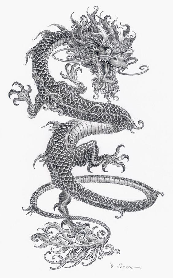 Картинки тату Китайский Дракон - подборка фото (16)