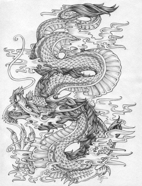 Картинки тату Китайский Дракон - подборка фото (21)
