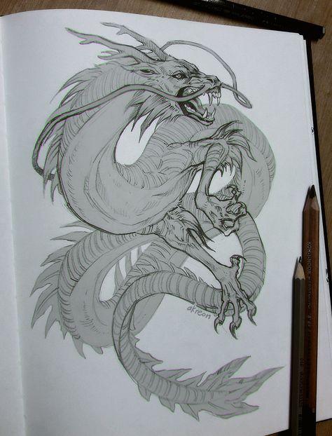 Картинки тату Китайский Дракон - подборка фото (3)