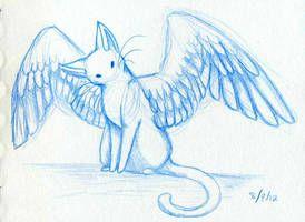 Кошки картинки аниме с крыльями (9)