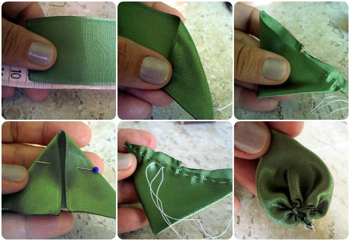 Листочки из лент своими руками мастер класс - фото (2)