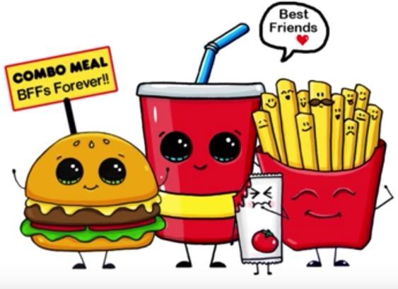 Милые картинки еды с глазками карандашом - подборка (22)