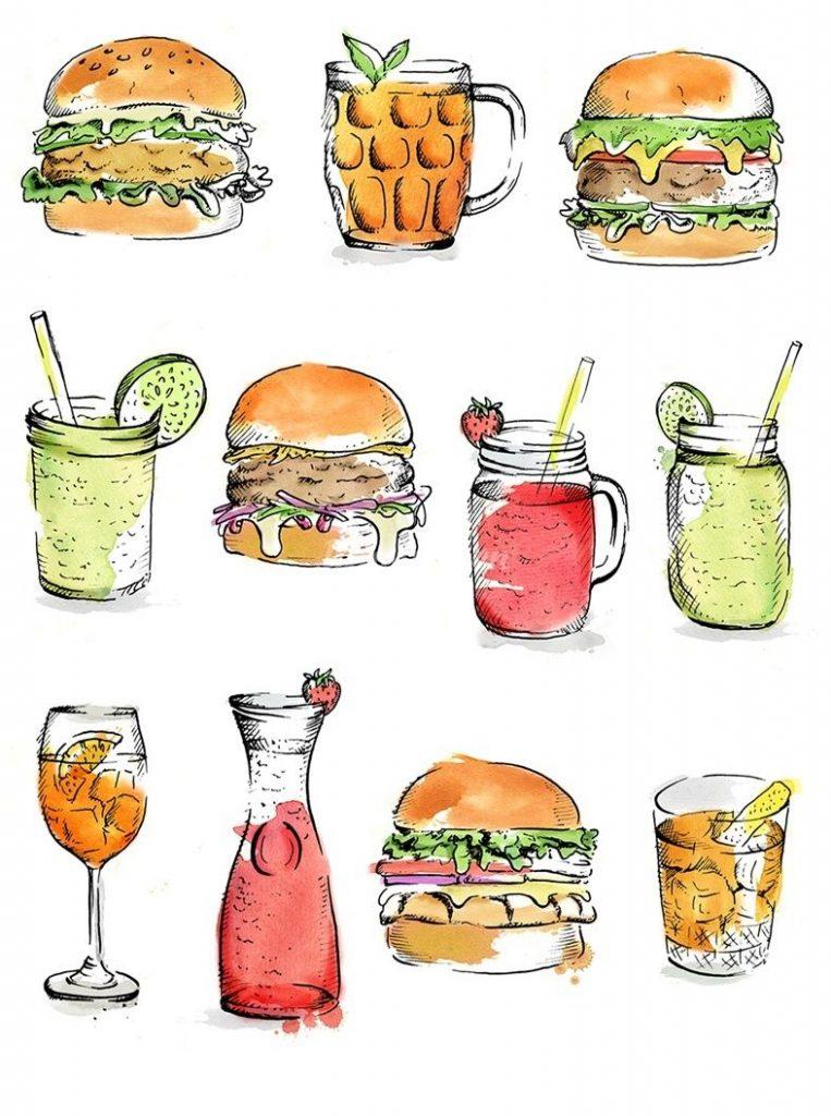 Нарисованные картинки еда и напитки (1)