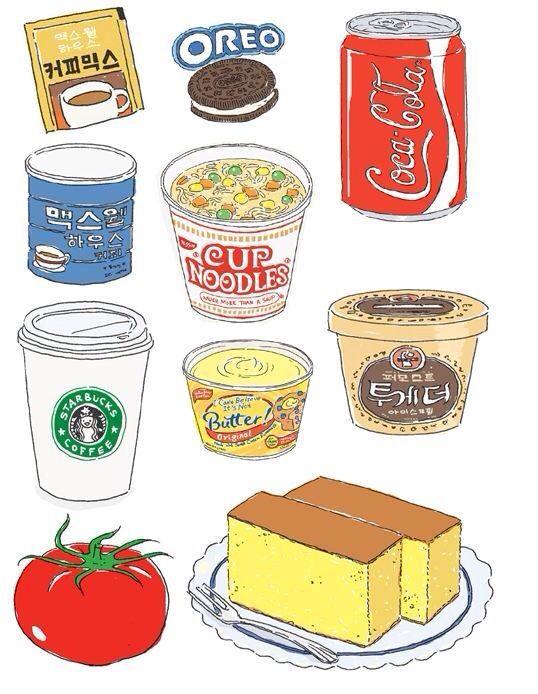 Нарисованные картинки еда и напитки (10)