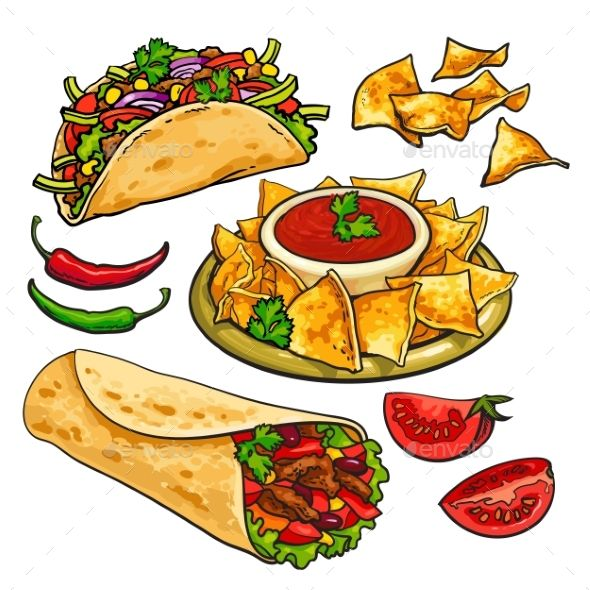 Нарисованные картинки еда и напитки (13)