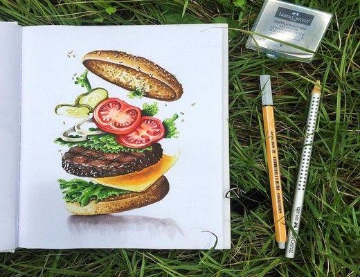 Нарисованные картинки еда и напитки (17)