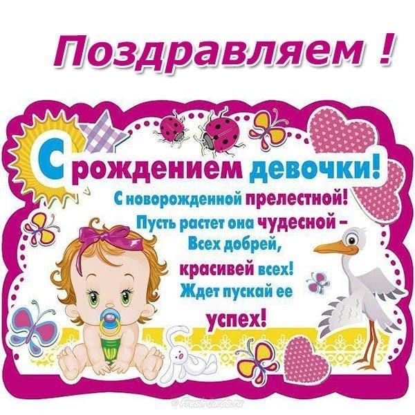 Поздравляем с рождением девочки открытка