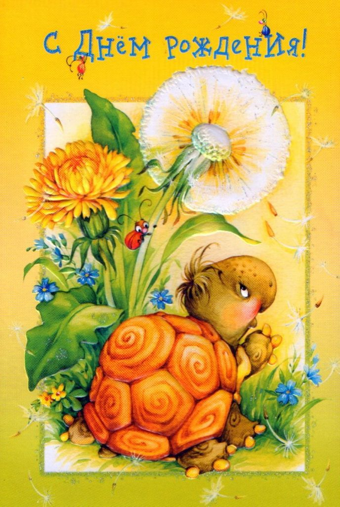 Марта, картинка с днем рождения черепаха
