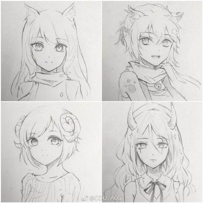 Прически аниме рисуем картинки (1)