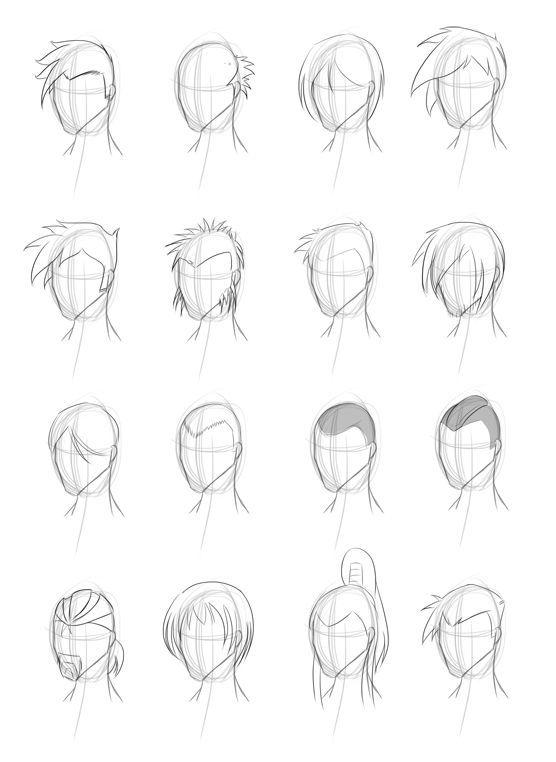 Прически аниме рисуем картинки (12)