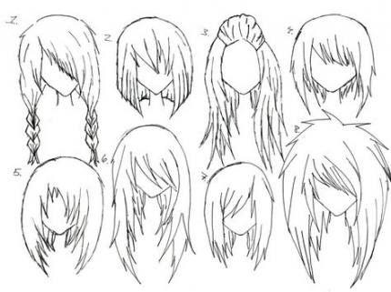 Прически аниме рисуем картинки (16)