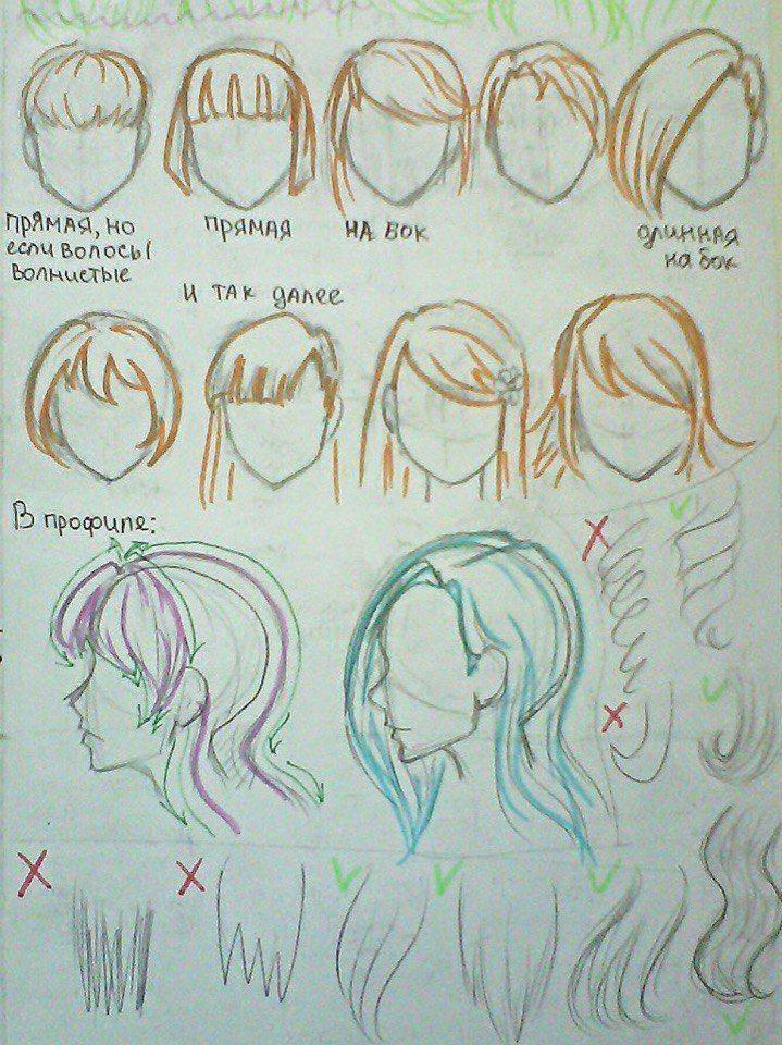 Прически аниме рисуем картинки (21)