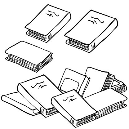 Стопка книг черно-белые картинки (14)