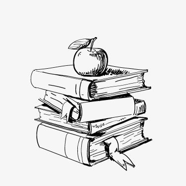 Стопка книг черно-белые картинки (15)