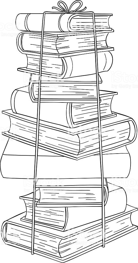 Stacklng books in line art style , black and white