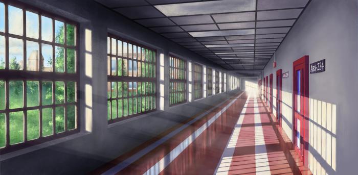 Фон аниме школьный коридор - картинки (11)