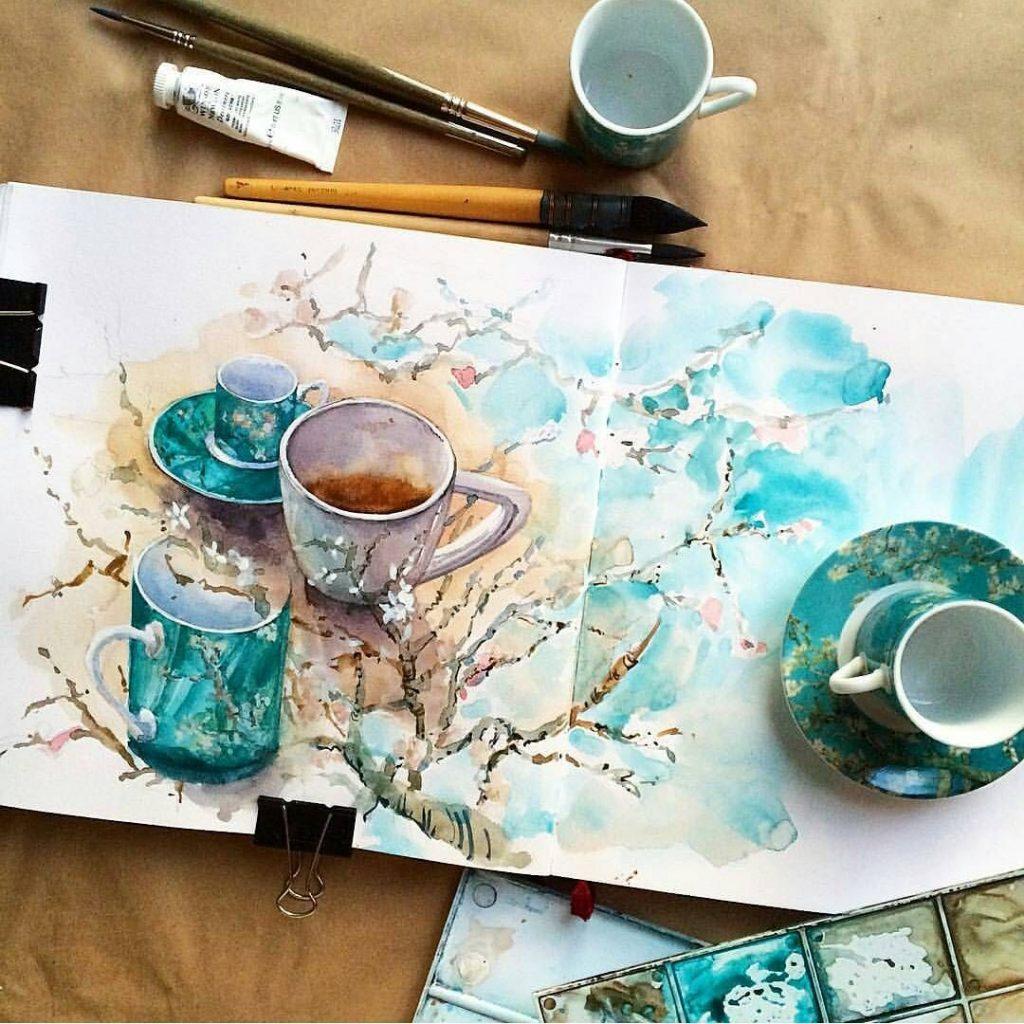 Чашка чая акварель картинки (1)