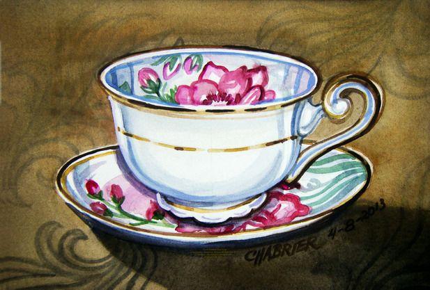 Чашка чая акварель картинки (14)
