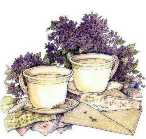 Чашка чая акварель картинки (15)