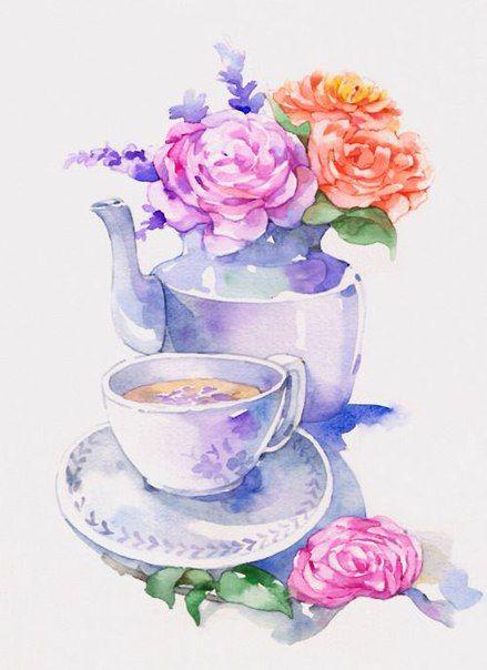 Чашка чая акварель картинки (19)