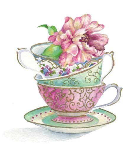 Чашка чая акварель картинки (21)