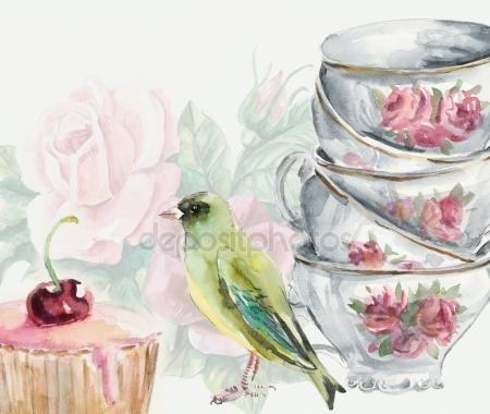 Чашка чая акварель картинки (23)
