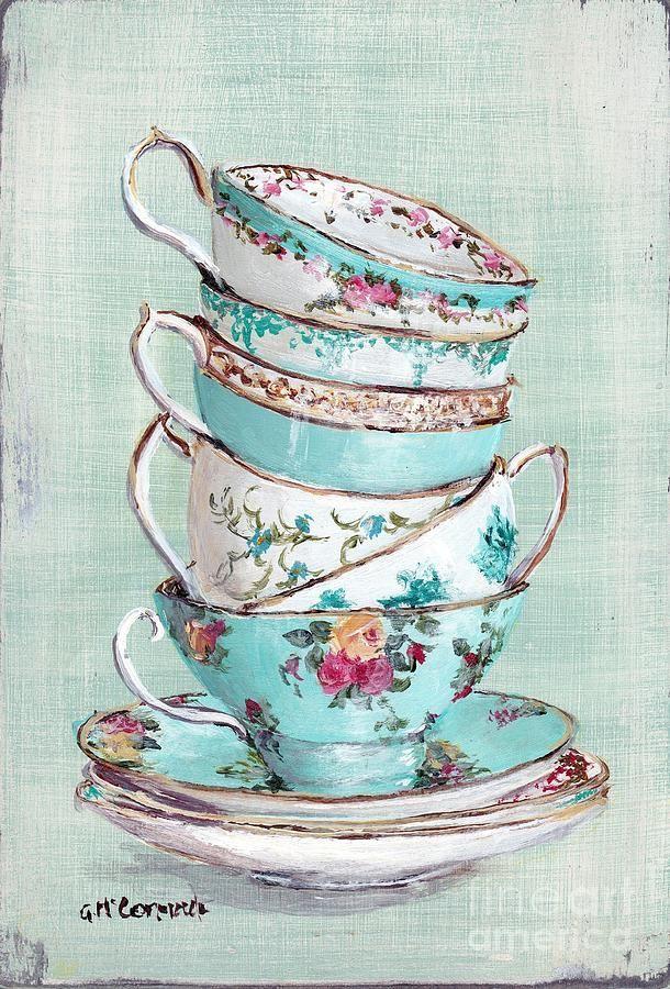 Чашка чая акварель картинки (3)