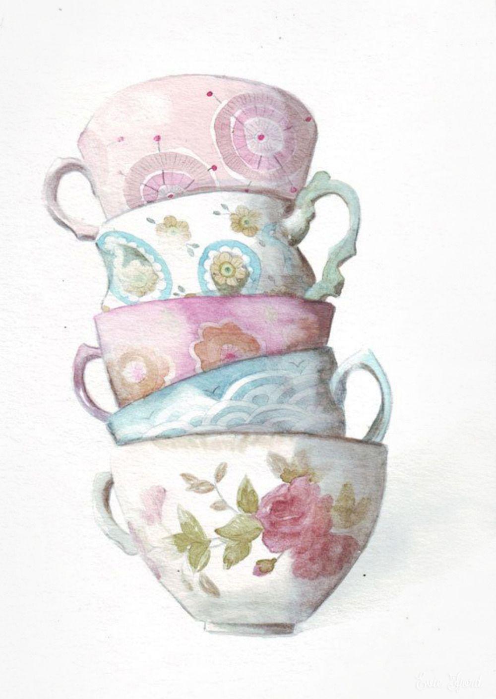 Чашка чая акварель картинки (7)